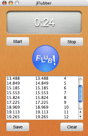 jFlubber - Java, note the time control's right alignment and the background skyomorphism, around 2007